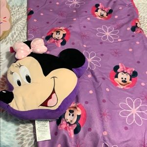 Minnie Mouse sleeping bag and pillow